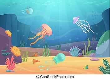 life., sous-marin, beau, océan, aquarium, dessin animé, fond, animaux, poissons, vecteur, paysage, méduse, naturel