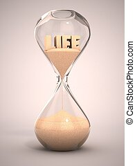 life time passing concept - hourglass, sandglass, sand timer...