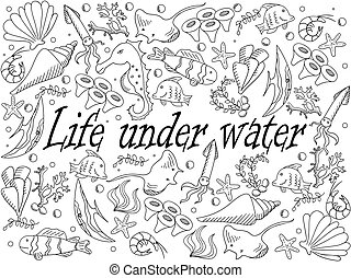 Life under water coloring book vector illustration