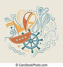 life., vector, illustratie, zee