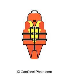 Life vest flat style vector illustration. Personal flotation device.
