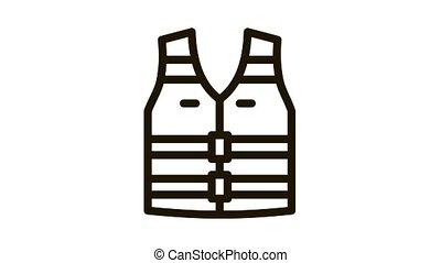 life vest Icon Animation. black life vest animated icon on white background