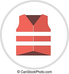 Life vest jacket flat icon icon illustration. - Life vest...
