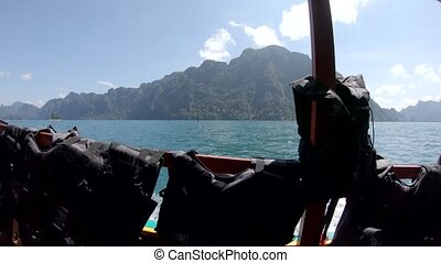 Life vest thailand lake Cheo lan, wooden mountains nature, national park ship yacht