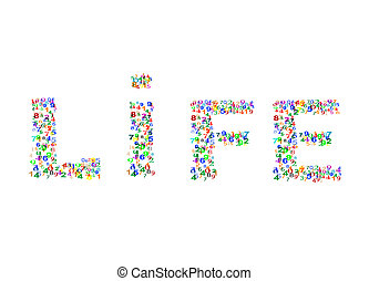 Life word made from colorful numbers