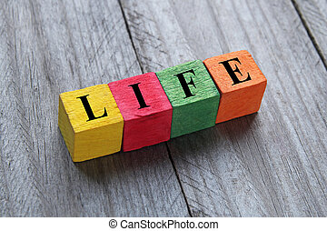 life word on wooden cubes