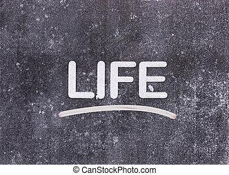 """""""life"""" word written on blackboard"""