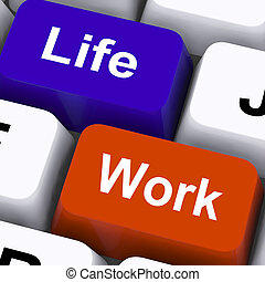 Life Work Keys Show Balancing Job And Free Time - Life Work...