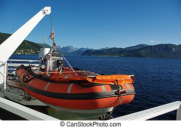 Orange lifeboat aboard the ferry