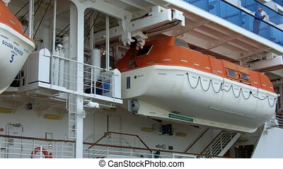 Lifeboat on a passenger liner.International Convention for...