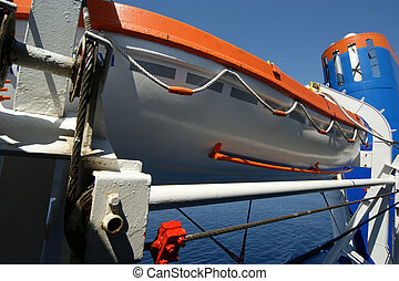 Lifeboats on a large passenger ship