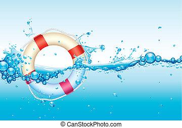 Lifebouy in Water - illustration of lifebouy in splash of...