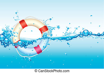Lifebouy in Water - illustration of lifebouy in splash of...