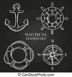 lifebuoy, âncora, vetorial, handwheel, compasso