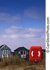 Lifebuoy and Beach Huts