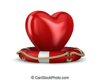 lifebuoy and heart on white background. Isolated 3d illustration