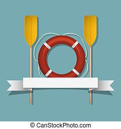 Lifebuoy and paddles. Vector illustration