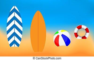 lifebuoy, balle, plage, planche surf, fond