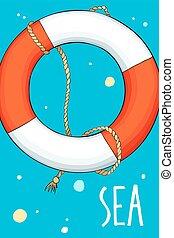 lifebuoy, bellen, achtergrond, zee
