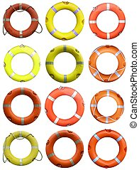 Lifebuoy - Collage of life buoy for safety at sea
