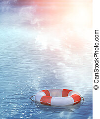 Lifebuoy, floating on waves