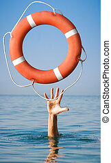 Lifebuoy for man in danger. Rescue situation concept. - ...