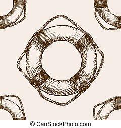 Lifebuoy hand drawn sketch seamless pattern vector