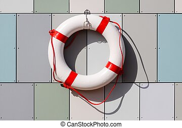 Lifebuoy hanging on a wall