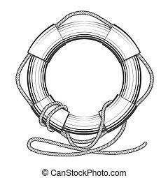 Lifebuoy - High detailed Lifebelt, lifebuoy drawn in...