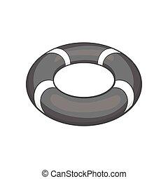Lifebuoy icon, black monochrome style