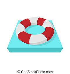 Lifebuoy icon, cartoon style