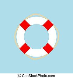 Lifebuoy icon isolated on light blue background.