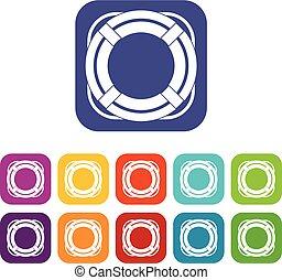 Lifebuoy icons set flat