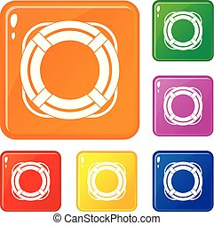 Lifebuoy icons set vector color