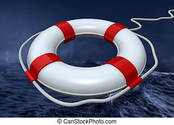 lifebuoy in the storm - closeup of a lifebuoy in a storm in ...
