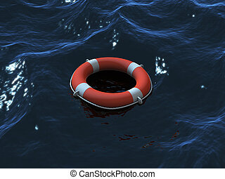 Lifebuoy  in waves