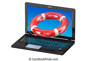 lifebuoy, laptop