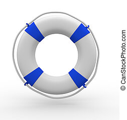 Lifebuoy - Life buoy blue on white background - This is a 3d...