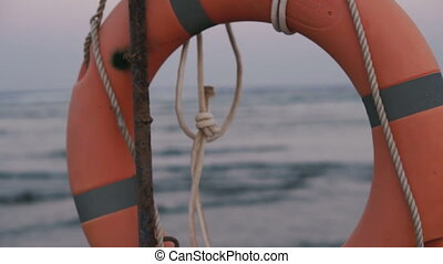 Lifebuoy. Lifebuoy weighs on the sea background