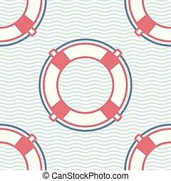 Lifebuoy marine vector seamless pattern