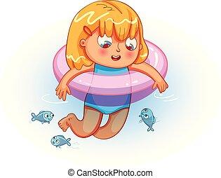 lifebuoy, menina, natação, mar, feliz