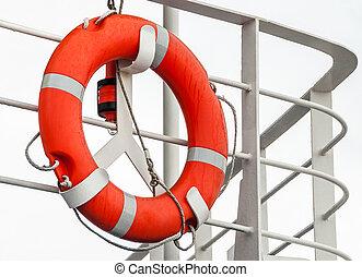 Lifebuoy on a ship railing