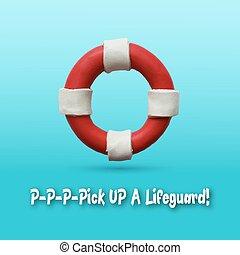 Lifebuoy on blue background