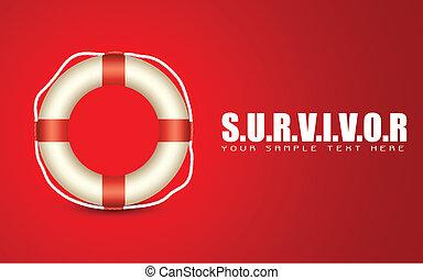illustration of lifebouy on motivational survivor background