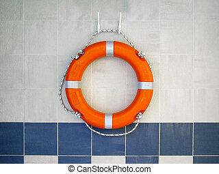 Lifebuoy on wall