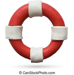 Lifebuoy on white background