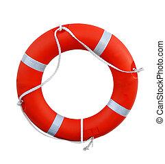 Lifebuoy - Orange life buoy isolated on white background
