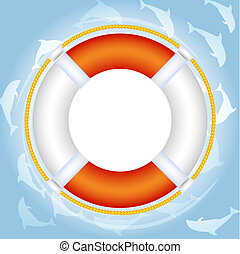 Lifebuoy over water with dolphins