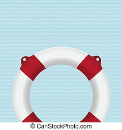 Lifebuoy photo-realistic vector illustration on striped...
