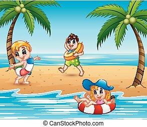 lifebuoy, plage, jouer, enfants